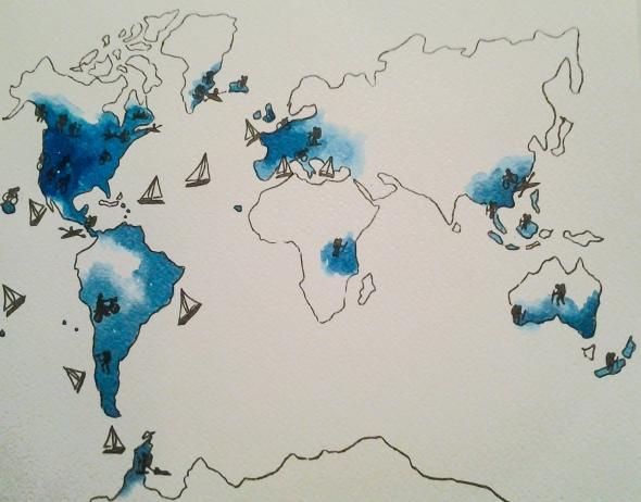 Carte du monde équipe venus sailing